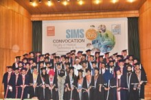 Graduates of SIMS at the convocation with Dr Adib Rizvi, director, SIUT (in white coat)